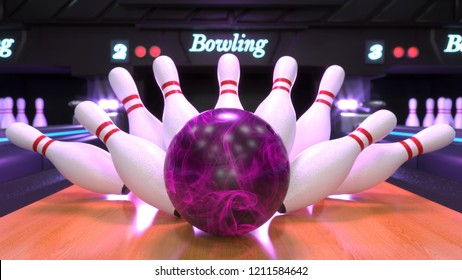 Picture of bowling ball hitting pins scoring a strike. Bowling background. Bowling 3D Rendering
