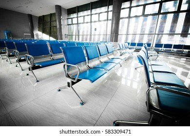 A picture of a brand new departure lounge at the airport