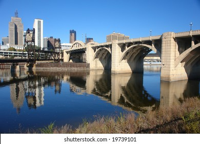 A picture of bridge leading into city of St. Paul Minnesota