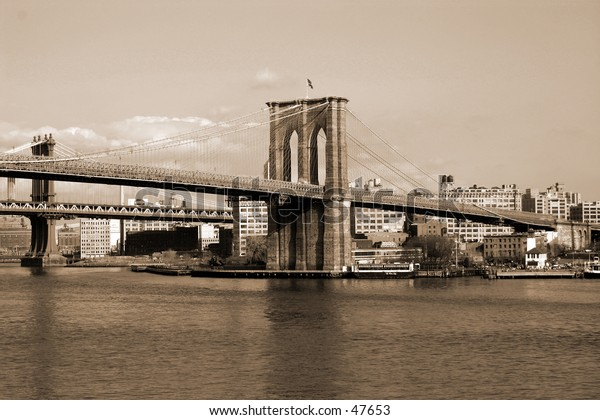 A picture of the Brooklyn Bridge taken from the South Street Seaport in Manhattan.