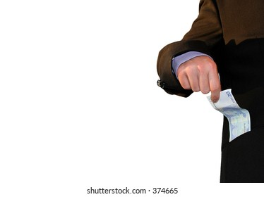 picture of business man taking money out of his pocket, isolated on a white background