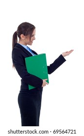 picture of a business woman holding a folder and presenting something