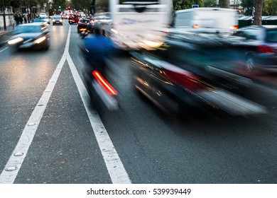 picture of busy city traffic in motion blur