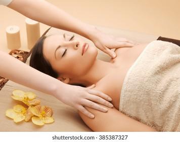 picture of calm beautiful woman in massage salon