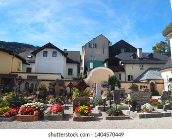A picture of a cemetery in Salzkammergut, Austria, decorated with flowers on October 10, 2012.