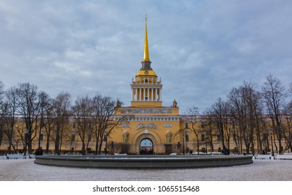 A picture of the central section of the Admiralty Building, in Saint Petersburg.