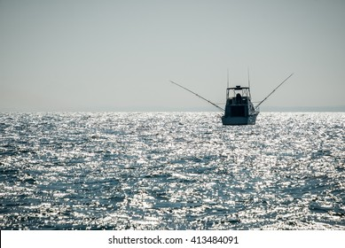 Picture of a charter fishing boat on Lake Michigan in the United States.
