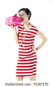 picture of cheerful girl with gift box