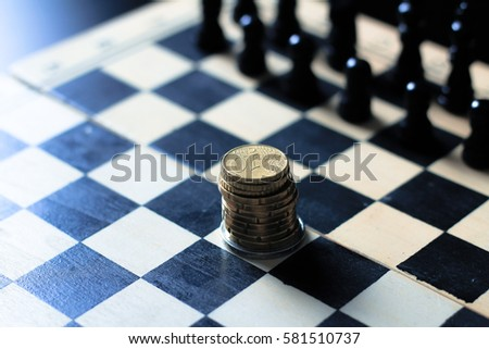 Picture Chess Board Stack Coins Stock Photo Edit Now 581510737