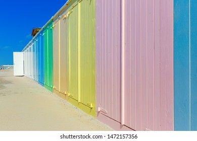 picture of colorful beach huts at the beach of Domburg, Netherlands