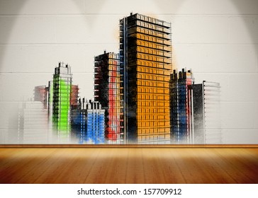 Picture of colorful city painted on white wall in bright light