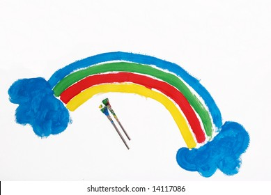A picture of a colorful rainbow painted by a five year old