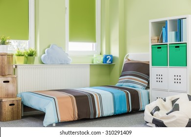 Picture of colorful sleeping area in teenager room