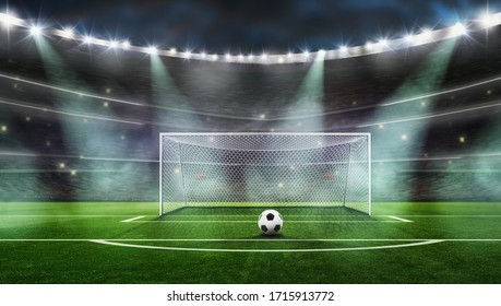 The picture is a composition, not a real stadium------ Ball on the green field at soccer stadium. ready for game in fro