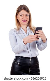 Picture of a confident smiling woman sending a text message