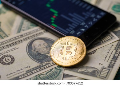 Picture of crypto currency, smartphone