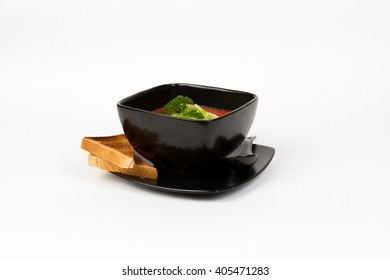 Picture of delicious tomato soup with cucumber