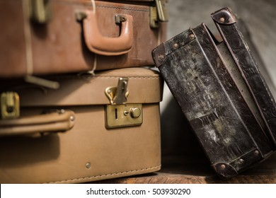 Picture of details of old luggages. Classic baggages. Retro theme.