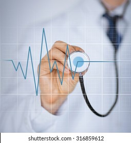 picture of doctor hand with stethoscope listening heart beat