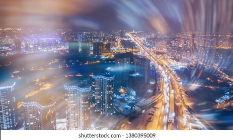 picture with double exposure. abstract toned industrial background. skyline by night. aerial view. drone shot