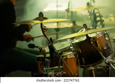 Picture of drums during a concert.