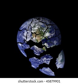 A picture of the earth with cracks falling down into space.Earth picture is taken from NASA.