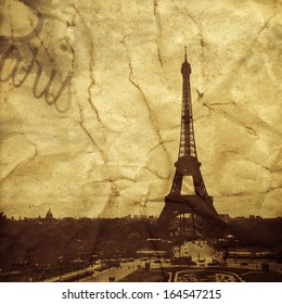 picture of the Eiffel Tower in Paris, France, with a textured effect as it was a vintage postcard