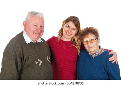 Picture of an elderly couple with their young caregiver