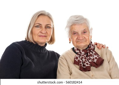 Picture of an elderly woman with her daughter