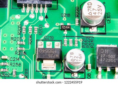 A picture of electronic component on printed circuit board. Electronic component in the picture is capacitor, resistor, rf, protection device and application specific IC.