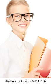 picture of an elementary school student with folders