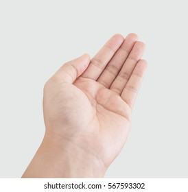 The Picture of empty male hand on white background
