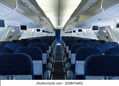 Picture of empty passenger seats inside airplane