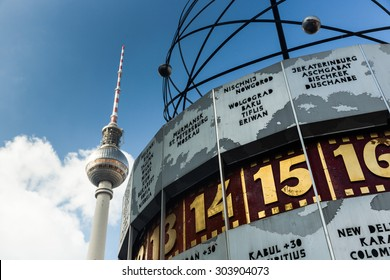 Picture of famous World Clock and Tv tower located in AlexanderPlatz Berlin, Germany