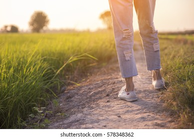 Picture of feet of woman (lonely girl),wearing white sneakers and blue jeans.Foot of female (traveler) Walk toward successful on path way and green fields beside.Travel and success concept