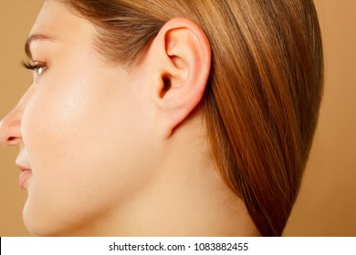 Picture of female ear close up