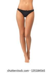 picture of female legs in black bikini panties