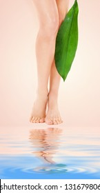 picture of female legs with green leaf over beige background