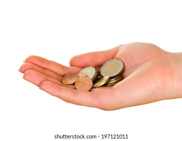 Picture of a female palm holding euro coins