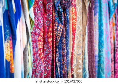 Picture of a fine texture of Greek fabrics of different colors