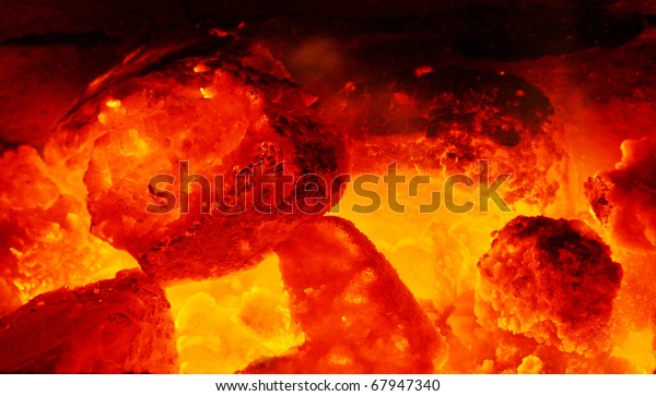 Picture Fire Burning Coal Fireplace Stock Photo Edit Now 67947340