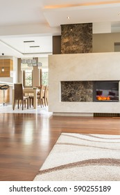 Picture of fireplace in beige living room