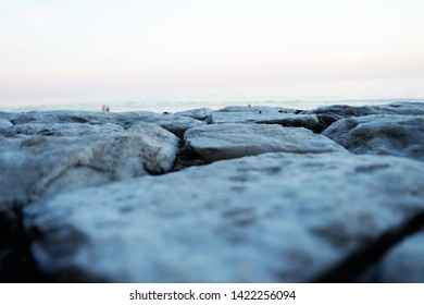 Picture of flooring stone beautiful patio with sea view background and blurred foreground - copy space image