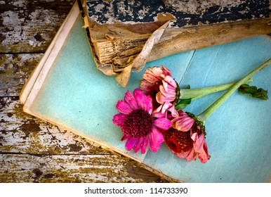 picture of a flowers lying on an antique books/Flowers on vintage wood background with blank/romantic vintage background with dry rose and blank page