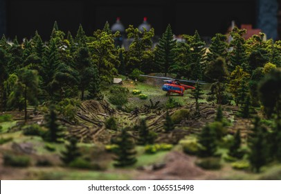 A picture of a forest-related model scene inside the Grand Maket Russia.