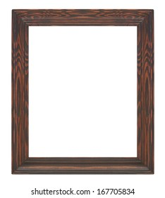 Picture frame black wood frame in white background.