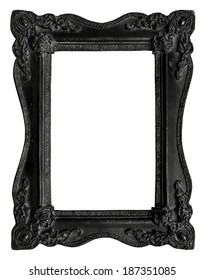 Picture frame black wood frame in white background, clipping path