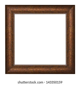Picture frame with brown texture and golden ornament, isolated over white (clipping path included)