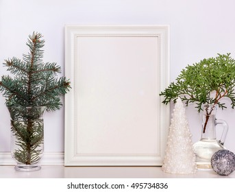 Picture frame Christmas mockup, stock photography. Design works presentations, for bloggers and social media.