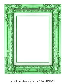 Picture frame green wood frame in white background.